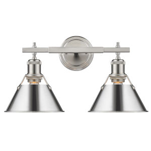 Orwell Pewter 18-Inch Two-Light Bath Vanity with Chrome Shade
