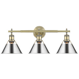 Orwell AB Aged Brass 24-Inch Three-Light Bath Vanity with Chrome Shade
