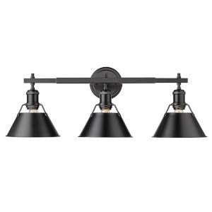 Orwell Matte Black 24-Inch Three-Light Bath Vanity with Black Shade