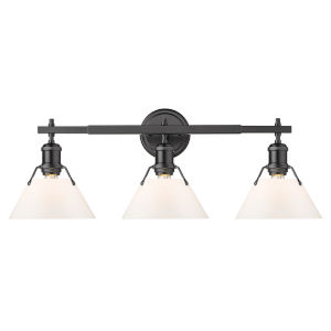Orwell Matte Black 24-Inch Three-Light Bath Vanity with Opal Glass Shade