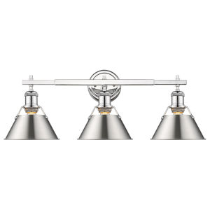 Orwell Chrome 24-Inch Three-Light Bath Vanity with Pewter Shade