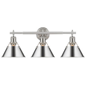 Orwell Pewter 24-Inch Three-Light Bath Vanity with Chrome Shade