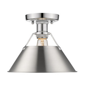 Orwell Chrome 10-Inch One-Light Flush Mount with Pewter Shade