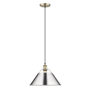 Orwell AB Aged Brass 14-Inch One-Light Pendant with Chrome Shade