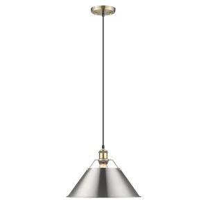 Orwell AB Aged Brass 14-Inch One-Light Pendant with Pewter Shade