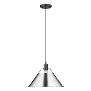 Orwell Matte Black 14-Inch One-Light Pendant with Chrome Shade