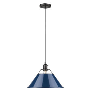 Orwell Matte Black 14-Inch One-Light Pendant with Matte Navy Shade