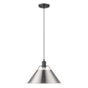Orwell Matte Black 14-Inch One-Light Pendant with Pewter Shade