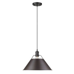 Orwell Matte Black 14-Inch One-Light Pendant with Rubbed Bronze Shade