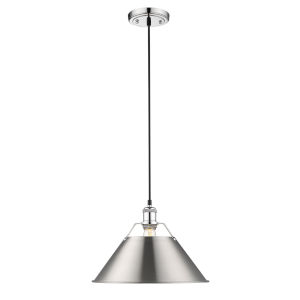 Orwell Chrome 14-Inch One-Light Pendant with Pewter Shade