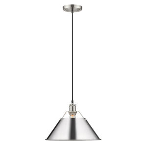 Orwell Pewter 14-Inch One-Light Pendant with Chrome Shade