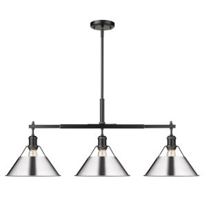 Orwell Matte Black 36-Inch Three-Light Linear Pendant with Chrome Shade