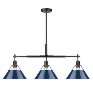 Orwell Matte Black 36-Inch Three-Light Linear Pendant with Matte Navy Shade