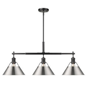 Orwell Matte Black 36-Inch Three-Light Linear Pendant with Pewter Shade