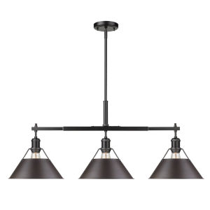 Orwell Matte Black 36-Inch Three-Light Linear Pendant with Rubbed Bronze Shade