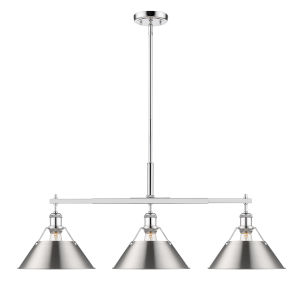 Orwell Chrome 36-Inch Three-Light Linear Pendant with Pewter Shade