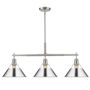 Orwell Pewter 36-Inch Three-Light Linear Pendant with Chrome Shade