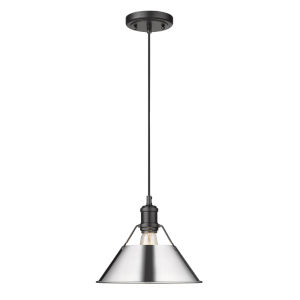 Orwell Matte Black 10-Inch One-Light Pendant with Chrome Shade