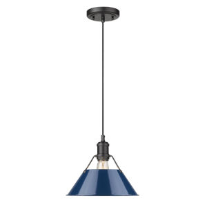 Orwell Matte Black 10-Inch One-Light Pendant with Navy Blue Shade