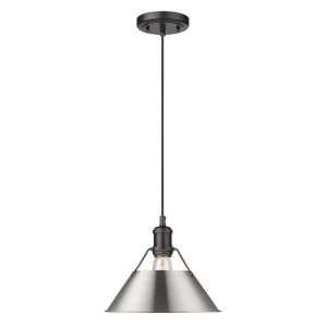 Orwell Matte Black 10-Inch One-Light Pendant with Pewter Shade