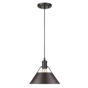 Orwell Matte Black 10-Inch One-Light Pendant with Rubbed Bronze Shade