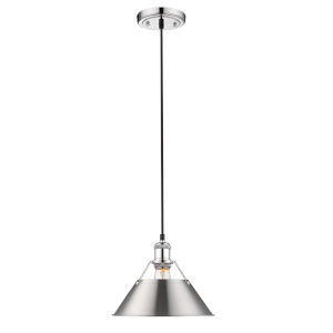 Orwell Chrome 10-Inch One-Light Pendant with Pewter Shade