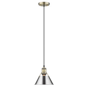 Orwell AB Aged Brass Eight-Inch One-Light Mini Pendant with Chrome Shade