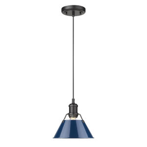 Orwell Matte Black Eight-Inch One-Light Mini Pendant with Matte Navy Shade