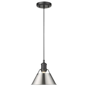Orwell Matte Black Eight-Inch One-Light Mini Pendant with Pewter Shade