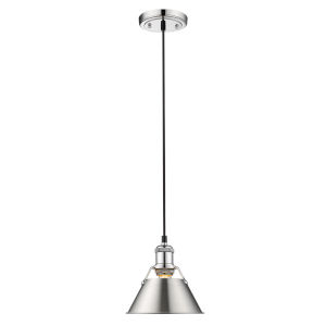 Orwell Chrome Eight-Inch One-Light Mini Pendant with Pewter Shade
