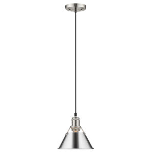 Orwell Pewter Eight-Inch One-Light Mini Pendant with Chrome Shade