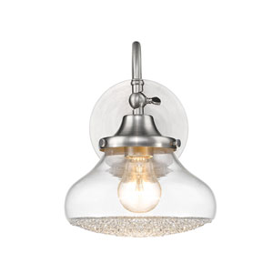 Asha Pewter Bath Sconce with Crushed Crystal Glass