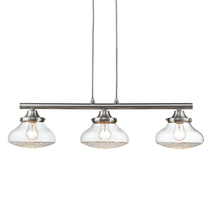 Asha Pewter Three-Light Linear Pendant with Crushed Crystal Glass