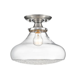 Asha Pewter 12-Inch Semi Flush with Crushed Crystal Glass