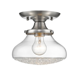 Asha Pewter Eight-Inch Semi Flush with Crushed Crystal Glass