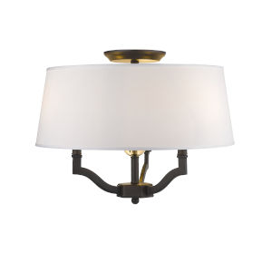 Waverly Rubbed Bronze Classic White Shade 19-Inch Three-Light Semi Flush Mount