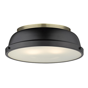 Duncan Aged Brass and Black 14-Inch Two-Light Flush Mount
