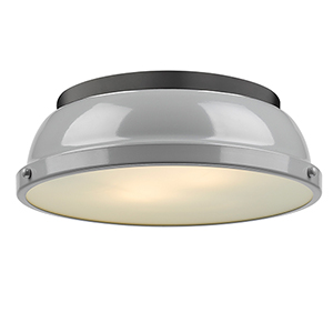 Duncan Black and Grey 14-Inch Two-Light Flush Mount