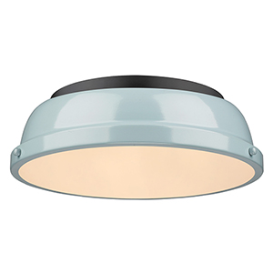 Duncan Black and Sea Foam 14-Inch Two-Light Flush Mount