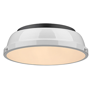 Duncan Black and White 14-Inch Two-Light Flush Mount
