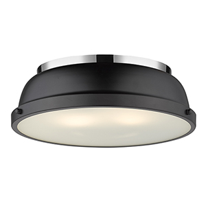 Duncan Chrome and Black 14-Inch Two-Light Flush Mount