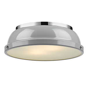 Duncan Chrome 14-Inch Two-Light Flush Mount