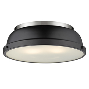 Duncan Pewter and Black 14-Inch Two-Light Flush Mount