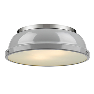 Duncan Pewter 14-Inch Two-Light Flush Mount