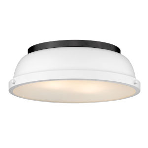 Duncan Matte Black 14-Inch Two-Light Flush Mount with a Matte White Shade