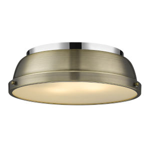 Duncan CH Chrome 14-Inch Two-Light Flush Mount with a Aged Brass Shade