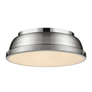 Duncan CH Chrome 14-Inch Two-Light Flush Mount with a Pewter Shade