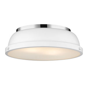 Duncan CH Chrome 14-Inch Two-Light Flush Mount with a Matte White Shade