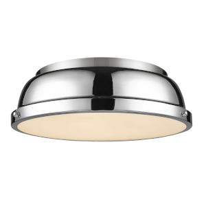 Duncan PW Pewter 14-Inch Two-Light Flush Mount with a Chrome Shade