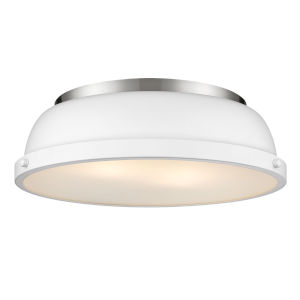 Duncan PW Pewter 14-Inch Two-Light Flush Mount with a Matte White Shade
